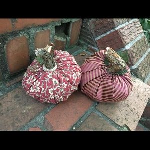PUMPKINS Pair of FABRIC Tan/Maroon Striped & Red